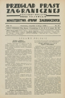 Przegląd Prasy Zagranicznej : codzienny biuletyn Wydziału Prasowego Ministerstwa Spraw Zagranicznych. R.7, nr 27 (4 lutego 1932)