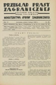 Przegląd Prasy Zagranicznej : codzienny biuletyn Wydziału Prasowego Ministerstwa Spraw Zagranicznych. R.7, nr 28 (5 lutego 1932)