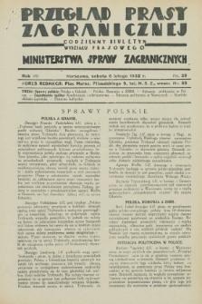 Przegląd Prasy Zagranicznej : codzienny biuletyn Wydziału Prasowego Ministerstwa Spraw Zagranicznych. R.7, nr 29 (6 lutego 1932)