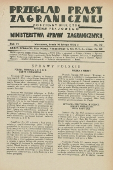 Przegląd Prasy Zagranicznej : codzienny biuletyn Wydziału Prasowego Ministerstwa Spraw Zagranicznych. R.7, nr 32 (10 lutego 1932)