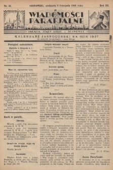 """Wiadomości Parafjalne : dodatek do tygodników """"Niedziela"""" i""""Przewodnika Katolickiego"""". 1936, nr41"""
