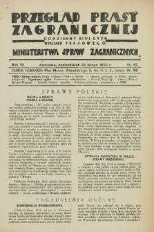 Przegląd Prasy Zagranicznej : codzienny biuletyn Wydziału Prasowego Ministerstwa Spraw Zagranicznych. R.7, nr 42 (22 lutego 1932)