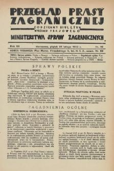 Przegląd Prasy Zagranicznej : codzienny biuletyn Wydziału Prasowego Ministerstwa Spraw Zagranicznych. R.7, nr 46 (26 lutego 1932)
