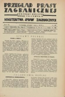 Przegląd Prasy Zagranicznej : codzienny biuletyn Wydziału Prasowego Ministerstwa Spraw Zagranicznych. R.7, nr 49 (1 marca 1932)