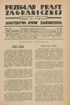 Przegląd Prasy Zagranicznej : codzienny biuletyn Wydziału Prasowego Ministerstwa Spraw Zagranicznych. R.7, nr 56 (9 marca 1932)