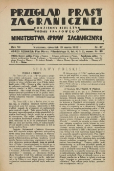 Przegląd Prasy Zagranicznej : codzienny biuletyn Wydziału Prasowego Ministerstwa Spraw Zagranicznych. R.7, nr 57 (10 marca 1932)