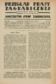 Przegląd Prasy Zagranicznej : codzienny biuletyn Wydziału Prasowego Ministerstwa Spraw Zagranicznych. R.7, nr 61 (15 marca 1932)