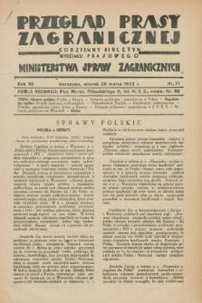 Przegląd Prasy Zagranicznej : codzienny biuletyn Wydziału Prasowego Ministerstwa Spraw Zagranicznych. R.7, nr 71 (29 marca 1932)