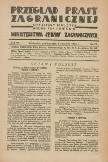 Przegląd Prasy Zagranicznej : codzienny biuletyn Wydziału Prasowego Ministerstwa Spraw Zagranicznych. R.7, nr 76 (4 kwietnia 1932)