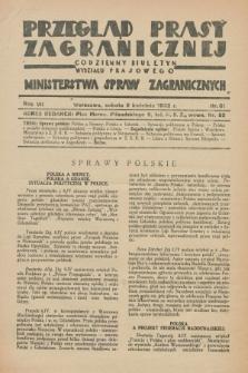 Przegląd Prasy Zagranicznej : codzienny biuletyn Wydziału Prasowego Ministerstwa Spraw Zagranicznych. R.7, nr 81 (9 kwietnia 1932)