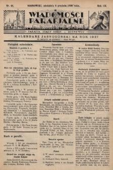 """Wiadomości Parafjalne : dodatek do tygodników """"Niedziela"""" i""""Przewodnika Katolickiego"""". 1936, nr44"""