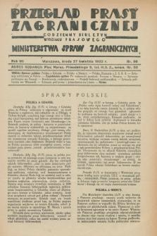 Przegląd Prasy Zagranicznej : codzienny biuletyn Wydziału Prasowego Ministerstwa Spraw Zagranicznych. R.7, nr 96 (27 kwietnia 1932)