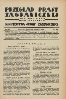 Przegląd Prasy Zagranicznej : codzienny biuletyn Wydziału Prasowego Ministerstwa Spraw Zagranicznych. R.7, nr 98 (29 kwietnia 1932)