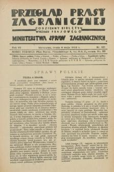 Przegląd Prasy Zagranicznej : codzienny biuletyn Wydziału Prasowego Ministerstwa Spraw Zagranicznych. R.7, nr 101 (4 maja 1932)