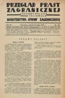 Przegląd Prasy Zagranicznej : codzienny biuletyn Wydziału Prasowego Ministerstwa Spraw Zagranicznych. R.7, nr 114 (21 maja 1932)