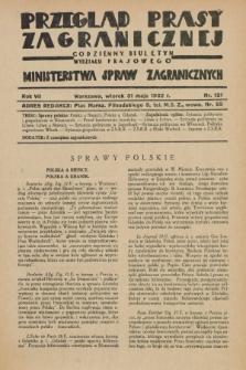 Przegląd Prasy Zagranicznej : codzienny biuletyn Wydziału Prasowego Ministerstwa Spraw Zagranicznych. R.7, nr 121 (31 maja 1932) + dod.