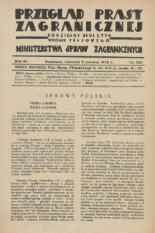 Przegląd Prasy Zagranicznej : codzienny biuletyn Wydziału Prasowego Ministerstwa Spraw Zagranicznych. R.7, nr 123 (2 czerwca 1932)