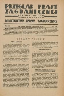 Przegląd Prasy Zagranicznej : codzienny biuletyn Wydziału Prasowego Ministerstwa Spraw Zagranicznych. R.7, nr 125 (4 czerwca 1932)