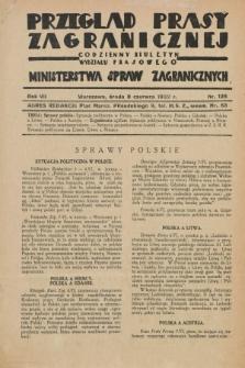 Przegląd Prasy Zagranicznej : codzienny biuletyn Wydziału Prasowego Ministerstwa Spraw Zagranicznych. R.7, nr 128 (8 czerwca 1932)