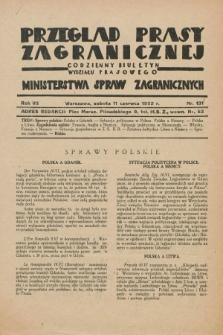 Przegląd Prasy Zagranicznej : codzienny biuletyn Wydziału Prasowego Ministerstwa Spraw Zagranicznych. R.7, nr 131 (11 czerwca 1932)