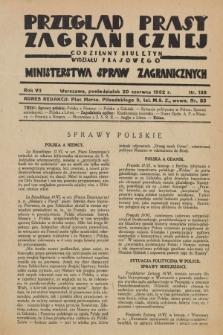 Przegląd Prasy Zagranicznej : codzienny biuletyn Wydziału Prasowego Ministerstwa Spraw Zagranicznych. R.7, nr 138 (20 czerwca 1932)