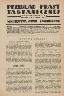 Przegląd Prasy Zagranicznej : codzienny biuletyn Wydziału Prasowego Ministerstwa Spraw Zagranicznych. R.7, nr 139 (21 czerwca 1932)