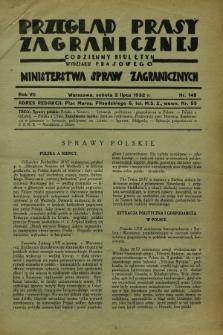 Przegląd Prasy Zagranicznej : codzienny biuletyn Wydziału Prasowego Ministerstwa Spraw Zagranicznych. R.7, nr 148 (2 lipca 1932)