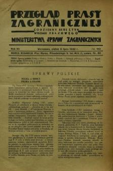 Przegląd Prasy Zagranicznej : codzienny biuletyn Wydziału Prasowego Ministerstwa Spraw Zagranicznych. R.7, nr 153 (8 lipca 1932)
