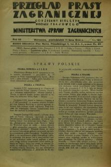 Przegląd Prasy Zagranicznej : codzienny biuletyn Wydziału Prasowego Ministerstwa Spraw Zagranicznych. R.7, nr 155 (11 lipca 1932)