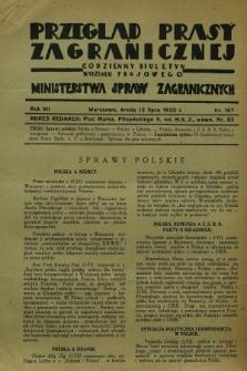 Przegląd Prasy Zagranicznej : codzienny biuletyn Wydziału Prasowego Ministerstwa Spraw Zagranicznych. R.7, nr 157 (13 lipca 1932)