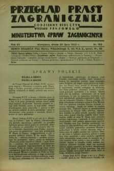 Przegląd Prasy Zagranicznej : codzienny biuletyn Wydziału Prasowego Ministerstwa Spraw Zagranicznych. R.7, nr 163 (20 lipca 1932)
