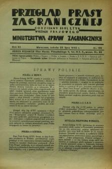 Przegląd Prasy Zagranicznej : codzienny biuletyn Wydziału Prasowego Ministerstwa Spraw Zagranicznych. R.7, nr 166 (23 lipca 1932)