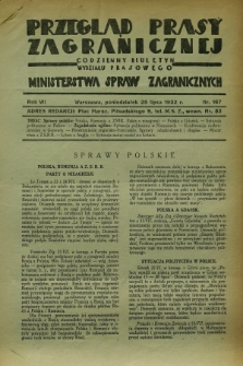 Przegląd Prasy Zagranicznej : codzienny biuletyn Wydziału Prasowego Ministerstwa Spraw Zagranicznych. R.7, nr 167 (25 lipca 1932)
