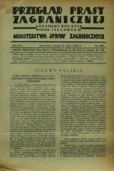 Przegląd Prasy Zagranicznej : codzienny biuletyn Wydziału Prasowego Ministerstwa Spraw Zagranicznych. R.7, nr 169 (27 lipca 1932)