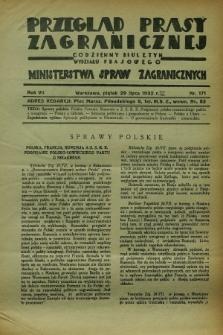 Przegląd Prasy Zagranicznej : codzienny biuletyn Wydziału Prasowego Ministerstwa Spraw Zagranicznych. R.7, nr 171 (29 lipca 1932)