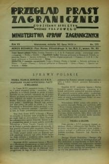 Przegląd Prasy Zagranicznej : codzienny biuletyn Wydziału Prasowego Ministerstwa Spraw Zagranicznych. R.7, nr 172 (30 lipca 1932) + dod.