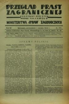 Przegląd Prasy Zagranicznej : codzienny biuletyn Wydziału Prasowego Ministerstwa Spraw Zagranicznych. R.7, nr 173 (1 sierpnia 1932)