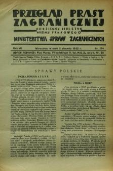 Przegląd Prasy Zagranicznej : codzienny biuletyn Wydziału Prasowego Ministerstwa Spraw Zagranicznych. R.7, nr 174 (2 sierpnia 1932)
