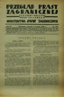 Przegląd Prasy Zagranicznej : codzienny biuletyn Wydziału Prasowego Ministerstwa Spraw Zagranicznych. R.7, nr 176 (4 sierpnia 1932)