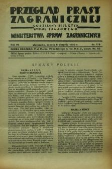 Przegląd Prasy Zagranicznej : codzienny biuletyn Wydziału Prasowego Ministerstwa Spraw Zagranicznych. R.7, nr 178 (6 sierpnia 1932)