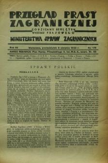 Przegląd Prasy Zagranicznej : codzienny biuletyn Wydziału Prasowego Ministerstwa Spraw Zagranicznych. R.7, nr 179 (8 sierpnia 1932)
