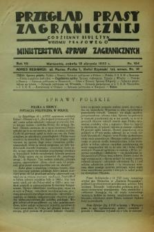 Przegląd Prasy Zagranicznej : codzienny biuletyn Wydziału Prasowego Ministerstwa Spraw Zagranicznych. R.7, nr 184 (13 sierpnia 1932)