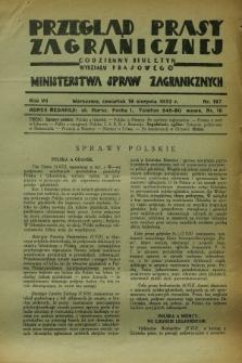 Przegląd Prasy Zagranicznej : codzienny biuletyn Wydziału Prasowego Ministerstwa Spraw Zagranicznych. R.7, nr 187 (18 sierpnia 1932)