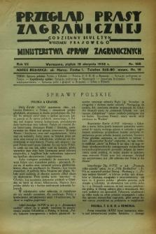Przegląd Prasy Zagranicznej : codzienny biuletyn Wydziału Prasowego Ministerstwa Spraw Zagranicznych. R.7, nr 188 (19 sierpnia 1932)