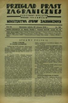 Przegląd Prasy Zagranicznej : codzienny biuletyn Wydziału Prasowego Ministerstwa Spraw Zagranicznych. R.7, nr 189 (20 sierpnia 1932)