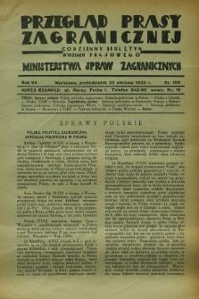 Przegląd Prasy Zagranicznej : codzienny biuletyn Wydziału Prasowego Ministerstwa Spraw Zagranicznych. R.7, nr 190 (22 sierpnia 1932)