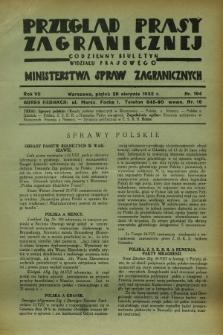 Przegląd Prasy Zagranicznej : codzienny biuletyn Wydziału Prasowego Ministerstwa Spraw Zagranicznych. R.7, nr 194 (26 sierpnia 1932)