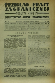 Przegląd Prasy Zagranicznej : codzienny biuletyn Wydziału Prasowego Ministerstwa Spraw Zagranicznych. R.7, nr 195 (27 sierpnia 1932)