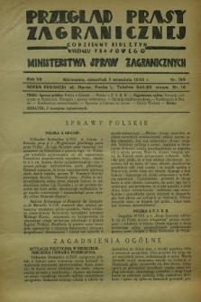 Przegląd Prasy Zagranicznej : codzienny biuletyn Wydziału Prasowego Ministerstwa Spraw Zagranicznych. R.7, nr 199 (1 września 1932) + dod.