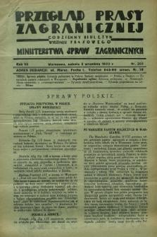 Przegląd Prasy Zagranicznej : codzienny biuletyn Wydziału Prasowego Ministerstwa Spraw Zagranicznych. R.7, nr 201 (3 września 1932)
